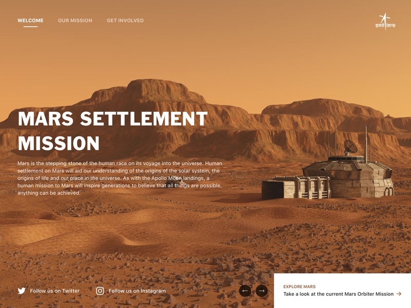 Mars Settlement Mission - Landing Page homepage home typography design branding web app ui landing page ui landing landing page web design illustration