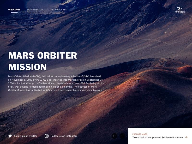 Mars Orbiter Mission - Landing Page homepage home typography design branding web app ui landing page ui landing landing page web design illustration