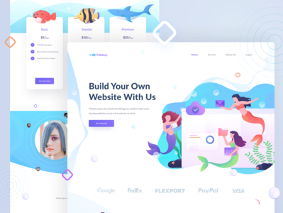 Fishstory Landing Page landing web hosting mermaids web design hero headers landing page ui illustration character website