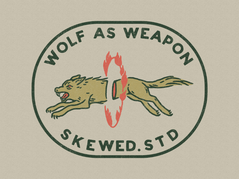 Wolf vintage design badge