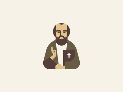Paul an Apostle illustration color geometric shapes illustration portrait logodesign christian
