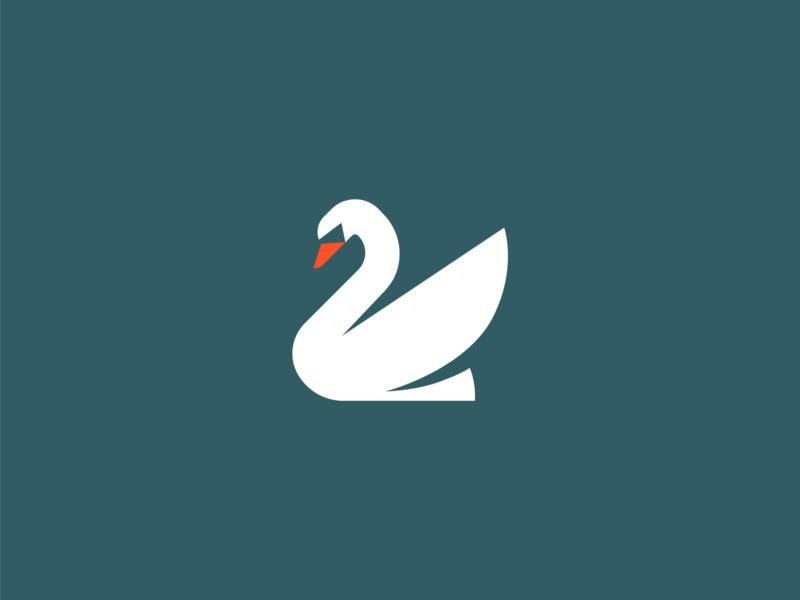 Swan Bird Logo pictogram illustration animal color branding minimalism logo bird swan