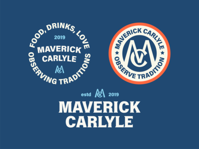 Maverick Carlyle Logo Elements colors monogram identity design typogaphy badge logo branding design logo