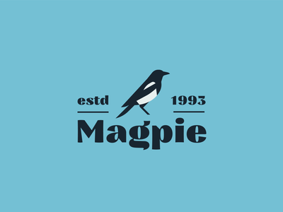 Magpie Logo Design badge design animal logo restaurant logo magpie bird logo minimalism illustration logotype branding logo