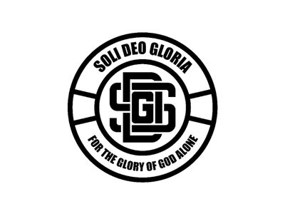 Soli deo gloria badge versions typography lettering illustration christian logo monogram