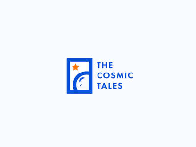 The Cosmic Tales comix books planet moon star space line art minimalism badge design pictogram illustration logo design branding design typography branding logo logotype
