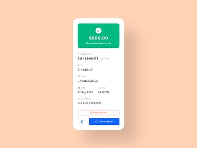 Payment Sent Screen banking app banking upi payment bank ux ui light theme minimal app adobexd