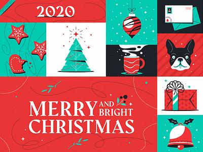 Merry Christmas ornaments santa french bulldog tree merrychristmas 2020 holiday christmas illustration