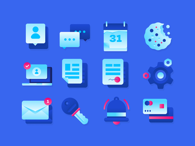 DELADI Icons calendar document gradient blue vector icon pack icon set icon
