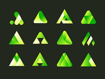A Concepts brand identity pyramid triangle letter a concept branding logo design mark vector brand identity logo