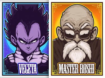 Dragon Ball Z Posters master roshi vegeta cartoon dbz ball dragon poster illustration