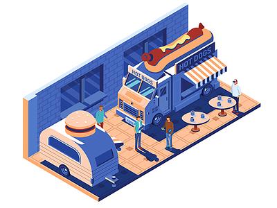 Street Food Truck WIP food street illustrator vector isometric illustration