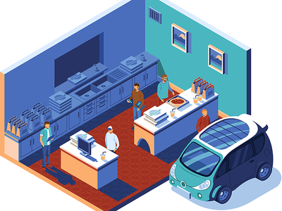 Food Delivery car delivery food street illustrator vector isometric illustration