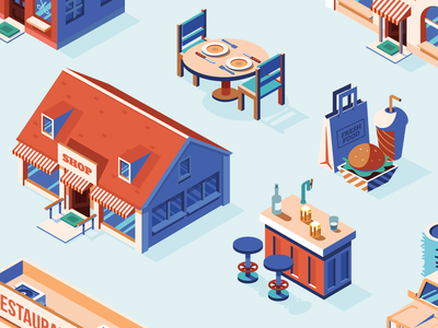 Shop and Restaurant Icons car food table bar shop restaurant retail illustrator isometric vector icon