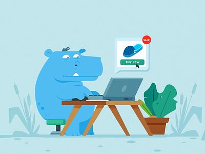 Hippo cartoon hippo ecommence cute illustrator illustration animal