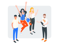 Isometric People thumb up success group happy cheer people isometric illustrator illustration