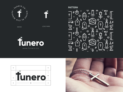 Funero Identity cross funeral logo design design logo mark vector mark branding identity brand logo