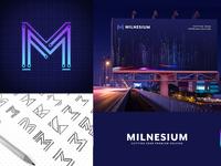 Milnesium brand identity technology purple m logo mark cutting edge ai branding brand identity logo