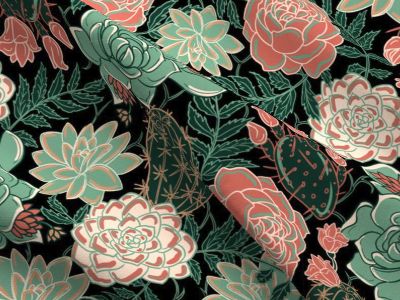 """fabric design """"succulents and roses"""""""
