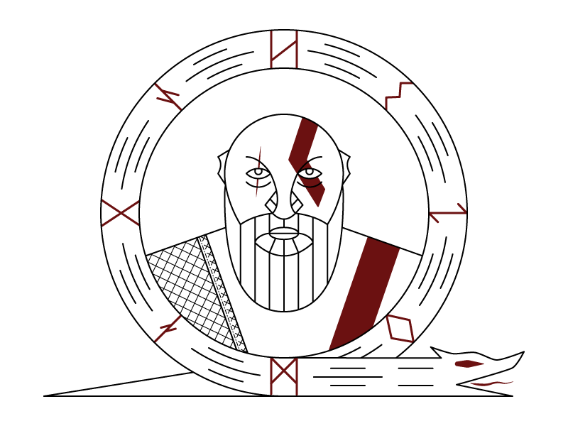 God of War god warrior graphic design design art line art illustration kratos god of war