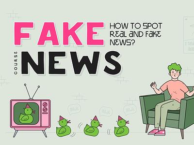 FakeNews - Cover illustration art ducks fake news news learn course app learning online app vector illustration design animation