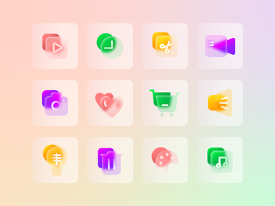 GLASSMORPHISM ICON glass basket buttons camera clock lamp graphic design scissors heart app icon set icon pack glass effect web ui glassmorphism icon vector illustration design