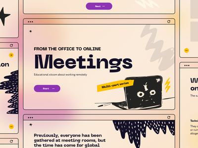 Meetings_Educational sitcom learning screenlife education online meeting social distancing quarantine desktop film graphicdesign zoom online app gradient instruction technology sketch interaction design ui ux vector illustration design