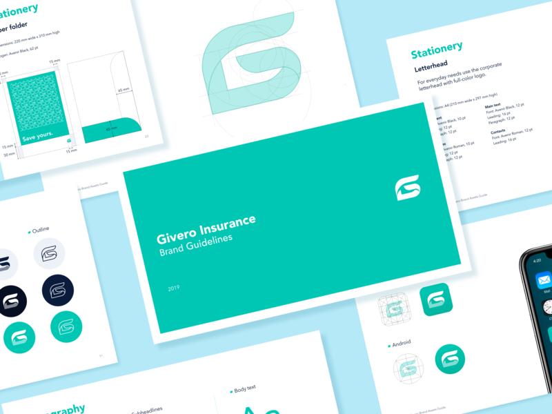 Givero - Guidelines green insurance logo insurance brand guidelines brand design brand identity typography icon app logo design identity branding identity identity design guidelines branding logo