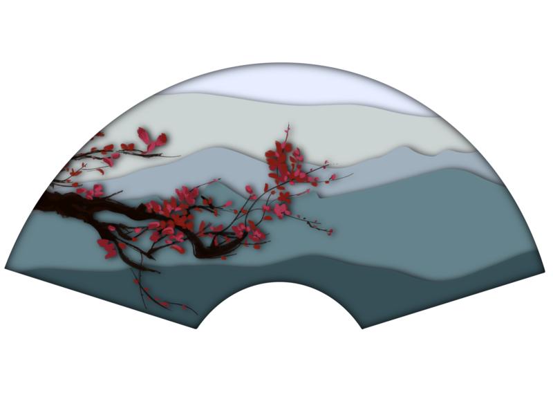 Plum Blossom Fan trees flower harmonious hand drawn illustration chinese painting chinese procreate fan