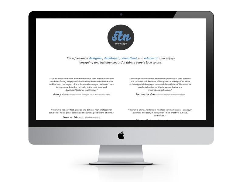 stn1978.com on iMac white freelance business personal website supriasans