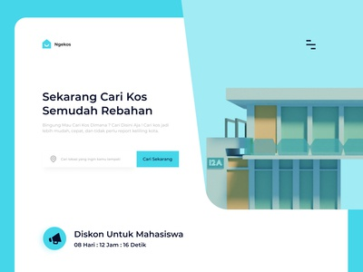 Web Pencari Kosan 3d building lodging student clean design clean ui boarding house hero section website design web design 3d clean kos kosan web minimal ui design illustration ui mobile uiux design