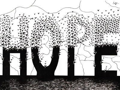 Hope black and white hope pen art pen and ink pen ink drawing