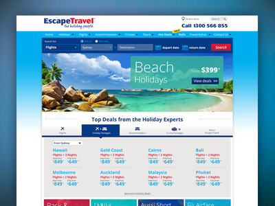 Escape Travel homepage homepage travel website redesign
