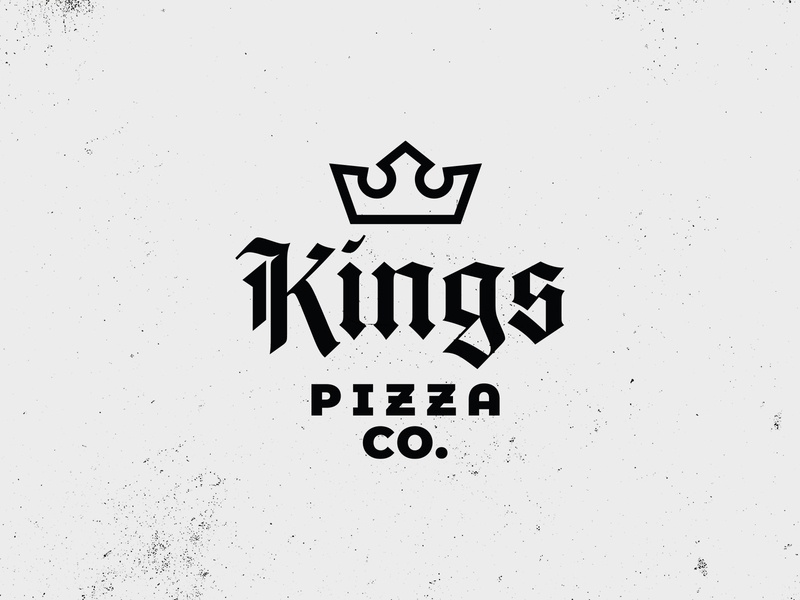 Kings Pizza logo identity typography vector blackletter gothic royalty queens kings crown medieval pizza design branding logo