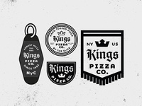 Kings Pizza Badges motel key chain royalty crown medieval badge pizza gothic identity typography design branding vector logo