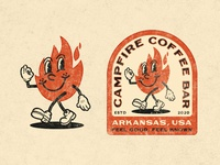 Campfire Coffee Bar Character typogaphy vintage character flame fire coffee arkansas badge branding logo vector illustration