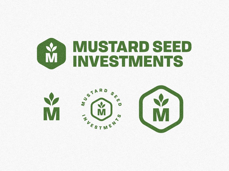 Mustard Seed Investments growth green plant vector arkansas badge identity branding logo thick lines