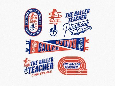 Baller Teacher Playbook assets typography identity lettering illustration icon vintage retro sports logo branding education basketball athletic arkansas academic