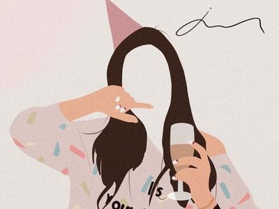 Birthday Girl Illustartion