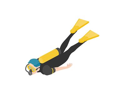 Scuba Diver scuba diving scuba diver scuba app ui illustration design branding