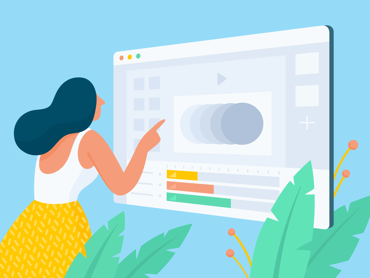 Animate Ads Illustration colorful article blogpost vector leaf character 2d anitamolnar template design banner bannersnack woman draw illustration art interface app animatedads animated animation