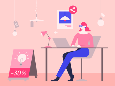 Retail e-commerce Illustration wacom working office desk lamp anitamolnar blogpost design woman bannersnack vector 2d shop illustration commerce ecommerce