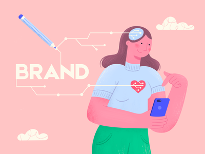 Brand Awareness Illustration cloud pencil brand awareness mind soul heart draw colorful girl feminine article 2d design woman blogpost character illustration