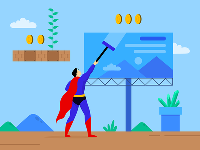 popculture illustration poster popculture pop advertising creative blog post art bannersnack vector kryptonite mariobros supermario superman banner design article character illustration 2d