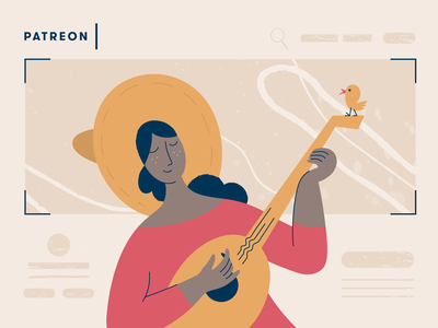 Patreon illustration chicken design cover bannersnack guitarist guitar girl woman character article blogpost vector illustration 2d