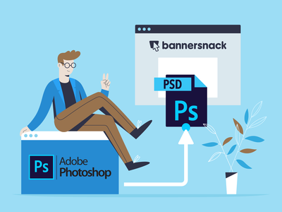 Photoshop Integration Illustration 2d create feature photoshop art design photoshop template integration photoshop bannersnack article blogpost vector illustration