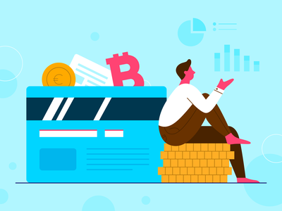 Financial Services Illustration gold pink blue character chart marketing men credit card bitcoin money financial design article blogpost vector illustration 2d