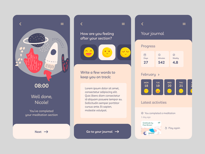 Meditation App Concept UI Mobile Interface 02/02
