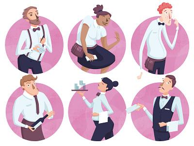 Different types of waiters for Lift – the Stuttgart magazine magazine illustration characterdesign editorial illustration flat design vector illustration