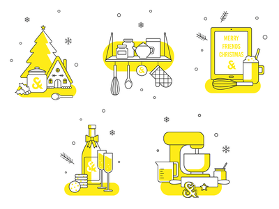 Icons for Scholz & Friends cooking bake icons set gift christmas icons vector flat design illustration